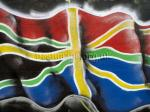 Graffiti flag Found on boarding in a car park, Bath