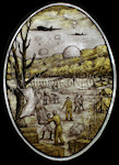 The Landings Close up of stained glass window pattern showing a World War 2 scene